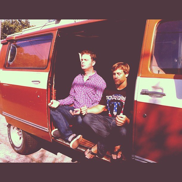 Rainn Wilson practiced meditating in a van. Source: Instagram user rainnwilson