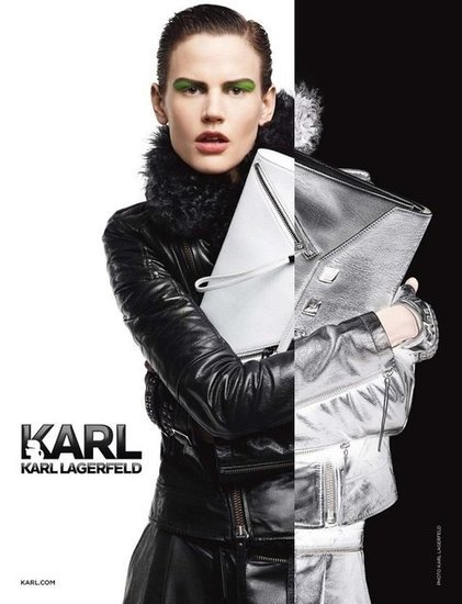 The Karl by Karl Lagerfeld Fall ads shows off the designer's signature monochromatic palette to perfection.