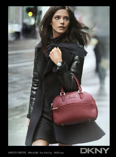 Ashley Greene shows off a bevy of covetable leather-infused items in DKNY's Fall 2012 campaign.