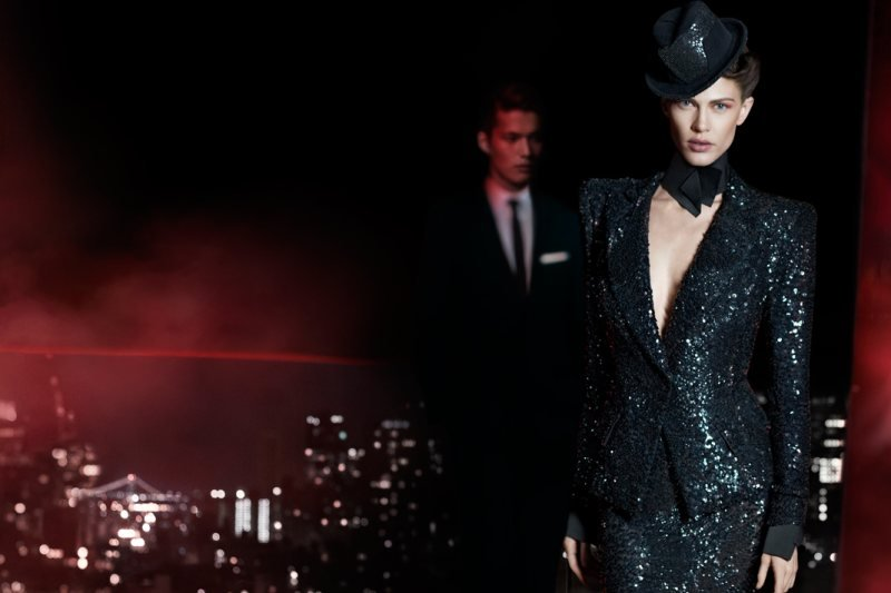 This suit got its punched-up texture via sparkly and shine — Donna Karan thinks of everything.