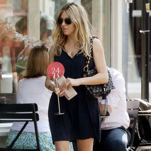 Sienna Miller Wearing Black Short Dress