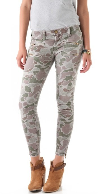 We're loving the lighter wash on these cool camouflage jeans. Current/Elliott The Multi Zip Stiletto Jeans (approx $206)