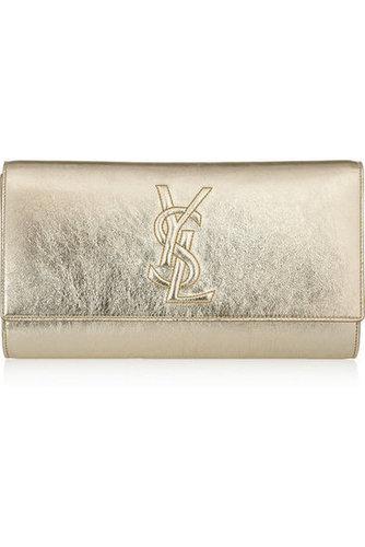 Yves Saint Laurent|Belle Du Jour metallic textured-leather clutch|NET-A-PORTER.COM