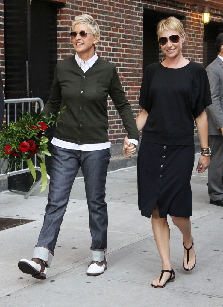 Ellen and Portia held hands on the streets of NYC in September 2010.