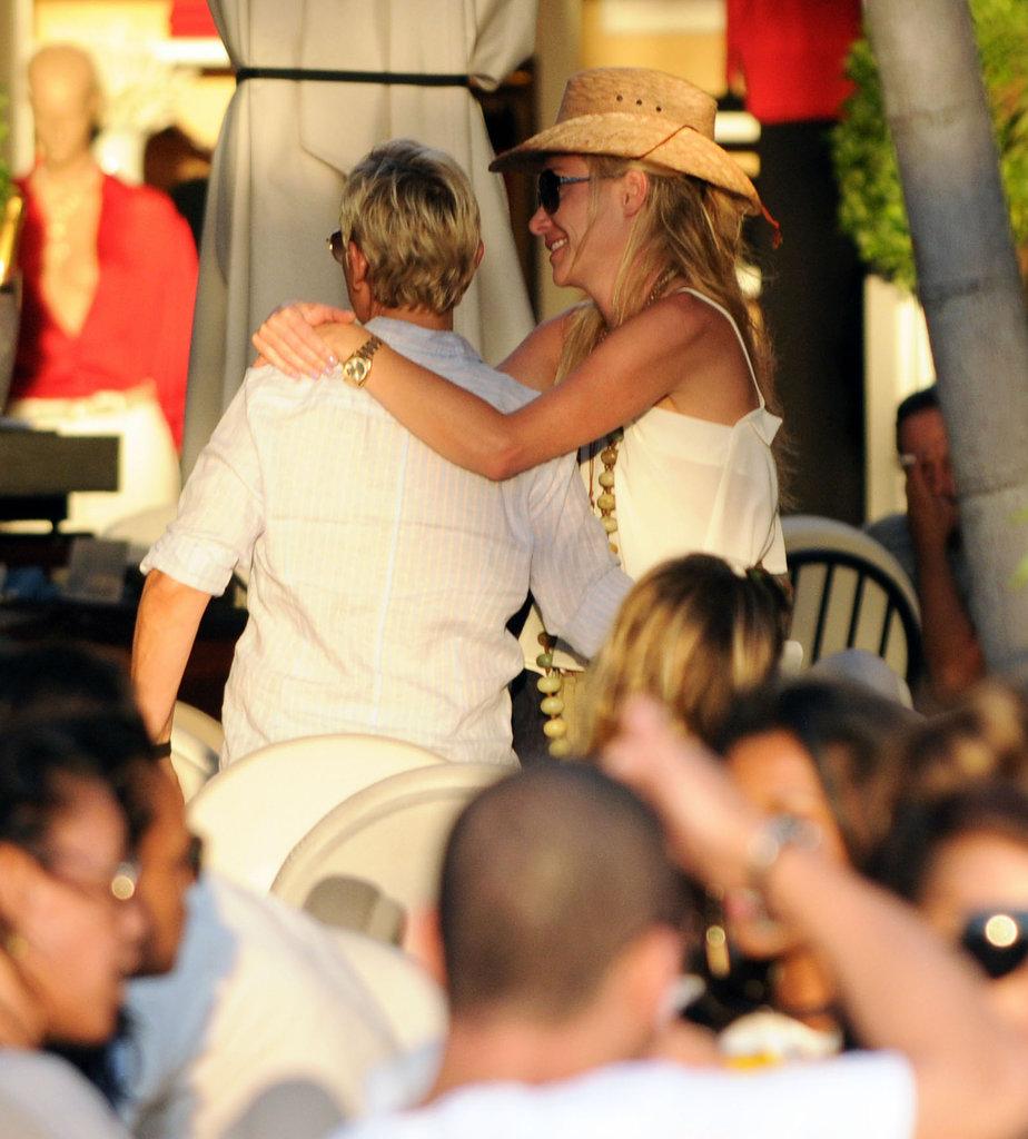 Portia showed Ellen love in St. Barts in December 2010.