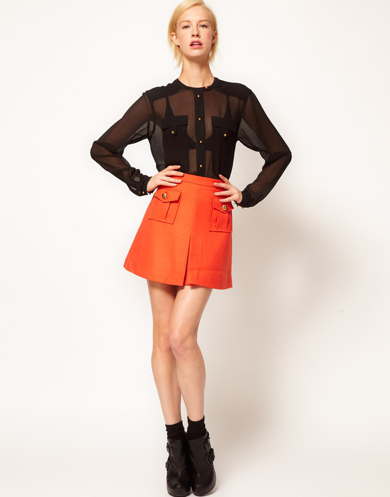 We love that this classic military skirt silhouette comes in a vibrant orange hue — it definitely punches up the trend. ASOS Wool Touch Military Mini Skirt With Gold Buttons ($51)