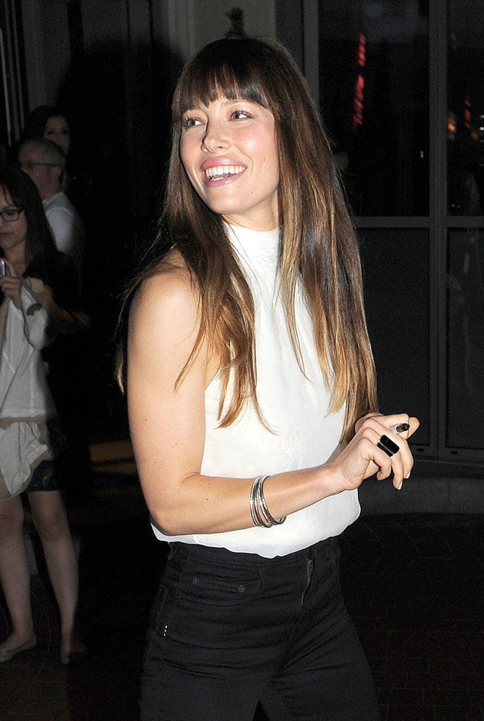 A closer look at her casual ensemble at a private screening in London — we're loving her high-waisted jet-black jeans.