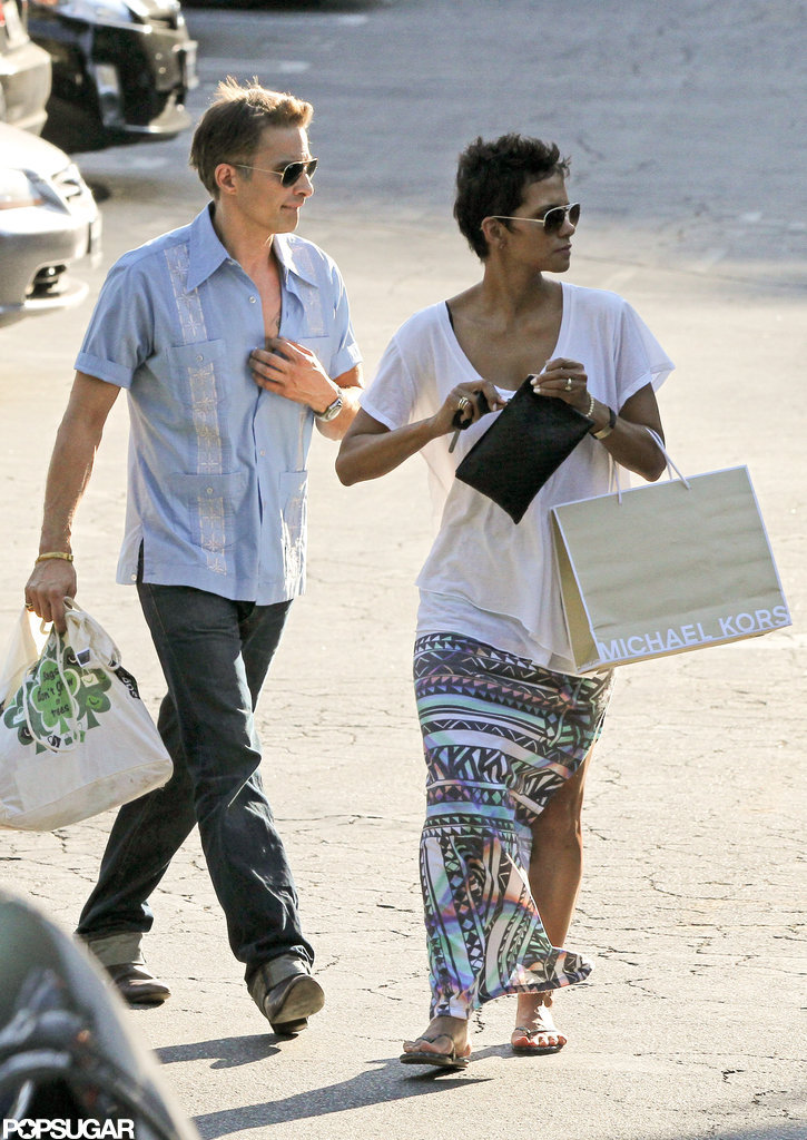 Halle Berry carried a Michael Kors shopping bag with Olivier Martinez while shopping together in LA.