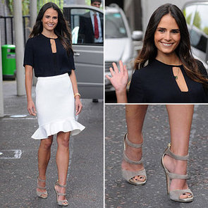 Jordana Brewster Wearing a White Skirt