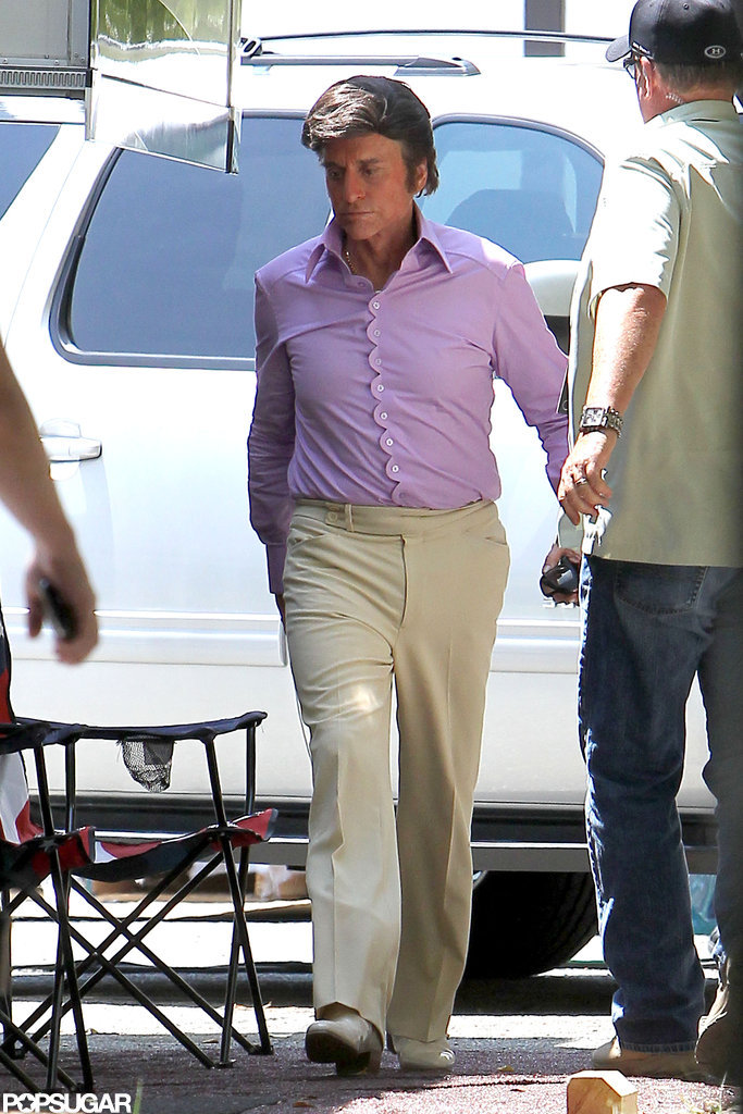 Michael Douglas wore a wig on the set of Behind the Candelabra.
