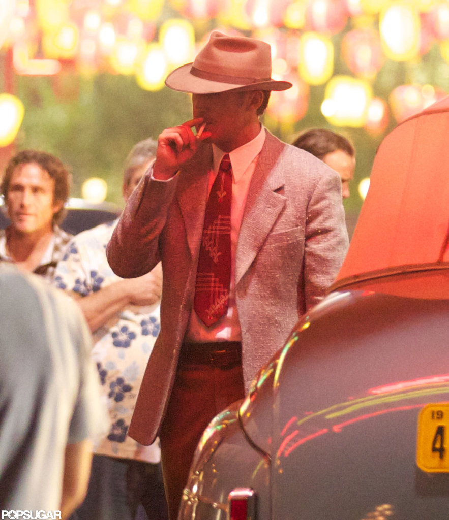 Ryan Gosling had a cigarette in his mouth on the set of Gangster Squad.
