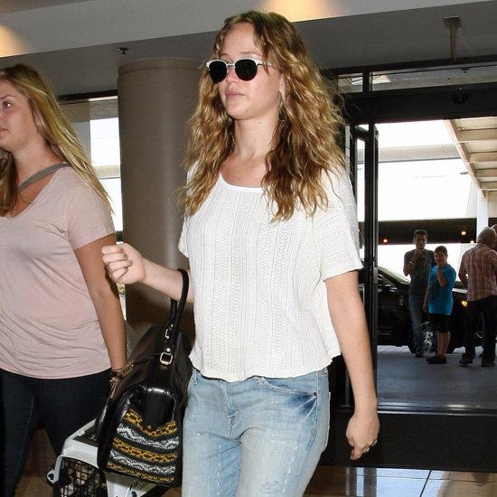 Jennifer Lawrence Wearing Snakeskin Flats