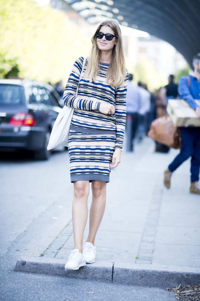 The knit dress is a total classic —we're warming to this cool-girl iteration in a zigzag print and sneakers to finish it off. Source: Adam Katz Sinding