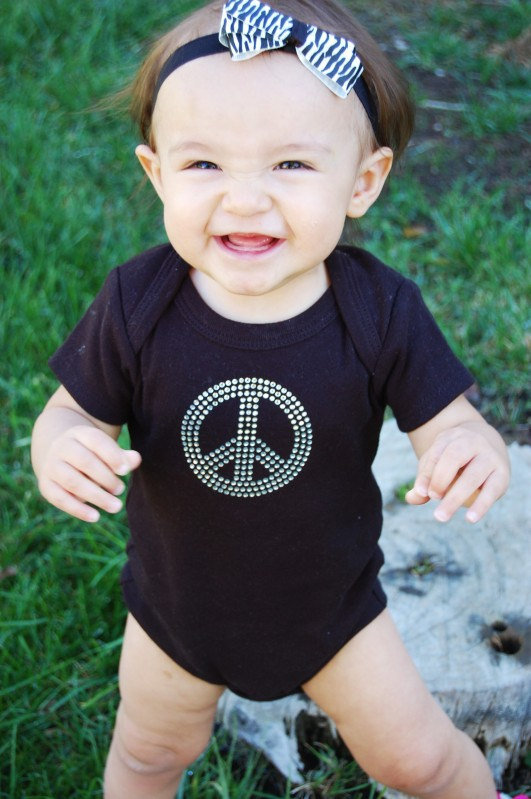Peace and Love Bling Onesie ($22)