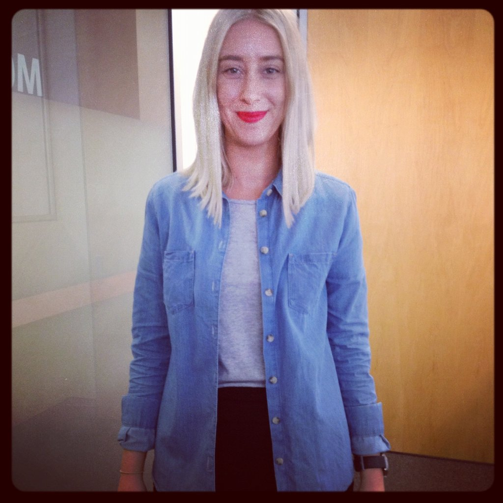 Alison wore a mix of Camilla and Marc, General Pants Co. and Topshop, and rocked Make Up Store's Lipstick in Redelicious.