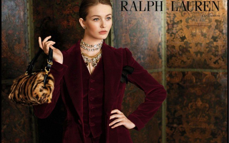 A merlot-hued pantsuit and a leopard-printed purse exude a type of elegance only Ralph Lauren can capture.