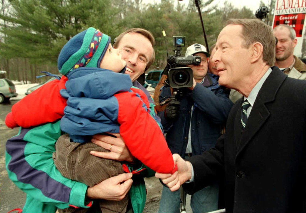 Lamar Alexander greeted a wee supporter during a campaign stop in Manchester, NH, back in 1996.