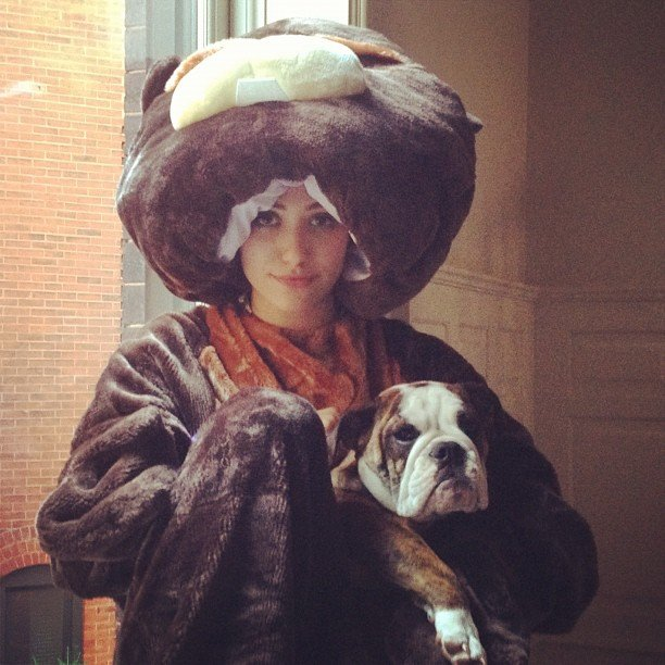 Emmy Rossum dressed up in a beaver costume. Source: Instagram user emmyrossum