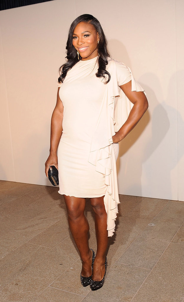 Serena Williams wore a drapey white dress during the FNO runway show in 2010.