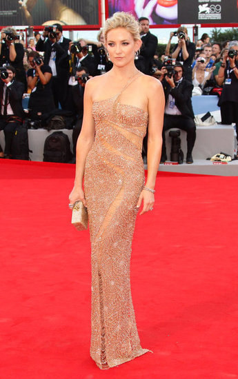 Kate Husdon was an absolute vision in this gold Atelier Versace sparkler. At the Venice Film Festival, Kate looked toned, tanned and styled to perfection in this gown. The colour is perfect for her skin tone, and we love the fine straps across her collarbone and the sheer panelling. The whole look is classy, chic and glamorous.