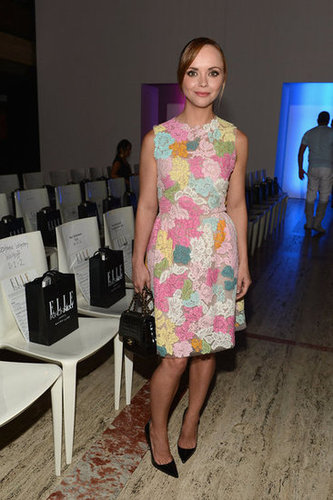 Christina Ricci chose a ladylike floral sheath with black pumps for her appearance at the Elle Fashion Next show.