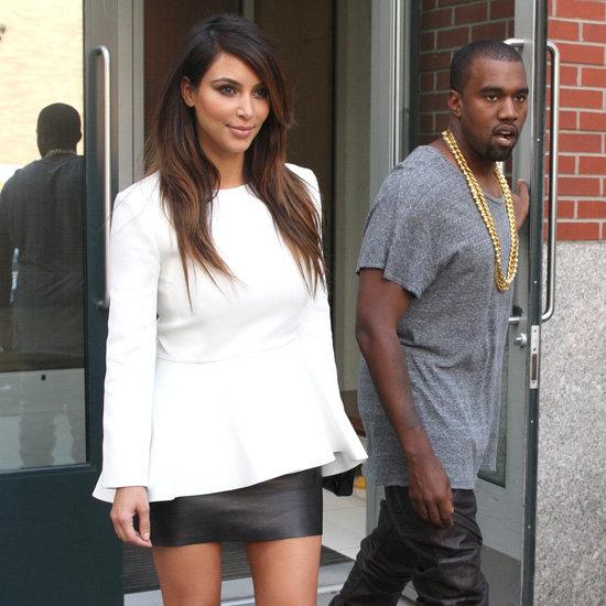 Kim Kardashian Wearing White Peplum Top