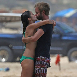 Nikki Reed and Husband Paul McDonald At The Beach In Bikini And Boardshorts