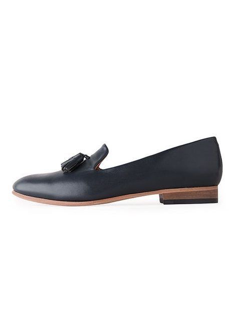 """Nothing says """"Fall"""" more than a spiffy new pair of Oxfords (yes, I said spiffy). After searching high and low, I can't stop thinking about Dieppa Restrepo's Gaston Slip-Ons, ($298). The navy hue is a nice alternative to basic black — plus, who can resist tassles? — Brittney Stephens, assistant editor"""