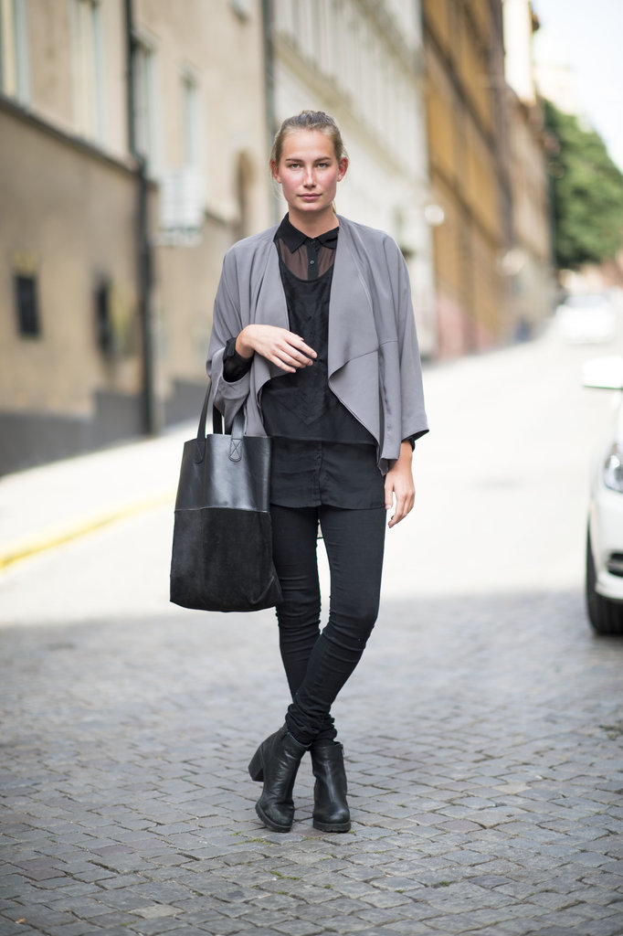Rework your basic black with slouchy, cool-girl layers and an accent color in another moody seasonal hue. Source: Adam Katz Sinding