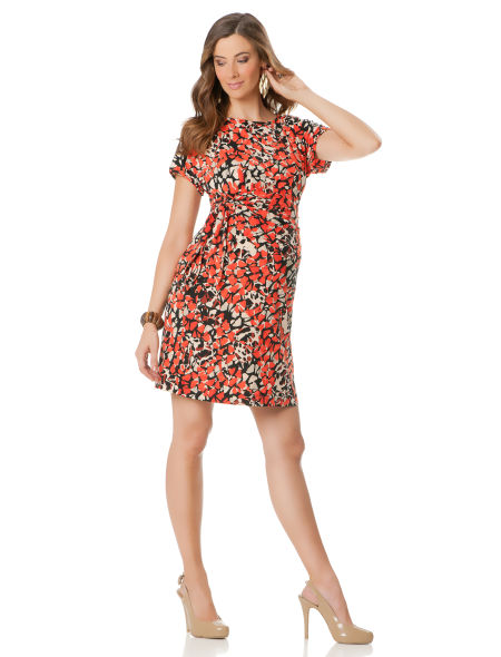 Thanks to a neutral, Fall-appropriate color palette, this floral Donna Morgan Tie Detail Dress ($150) fits in with the season.