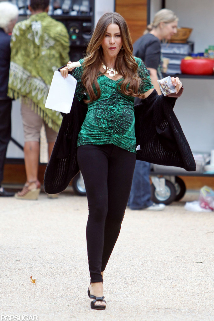 Sofia Vergara had her hands full on set.
