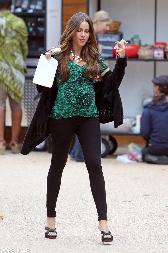 Sofia Vergara rocked heels on the set of Modern Family.