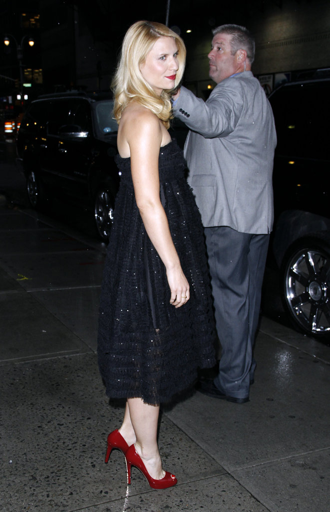 Claire Danes wore red heels and a black dress for her appearance on Late Show With David Letterman.