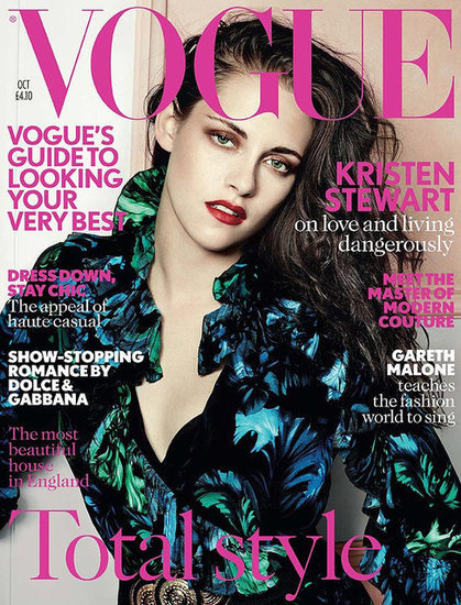 Kristen Stewart Covers Vogue UK in a Green Gucci Dress With Red Lipstick