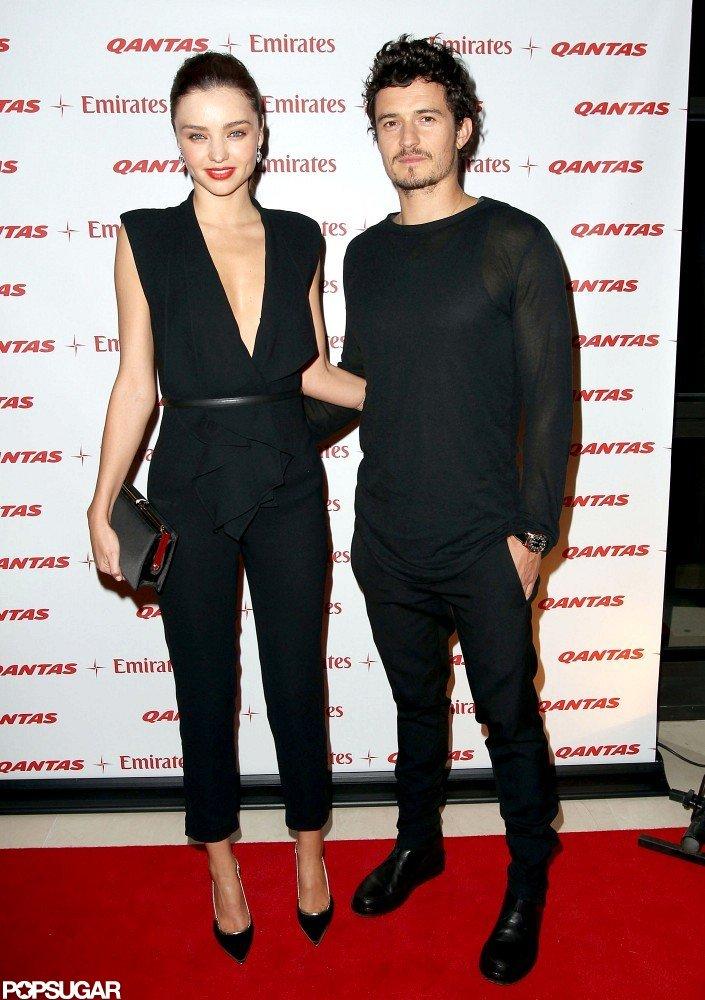 Miranda Kerr posed with her husband Orlando Bloom.