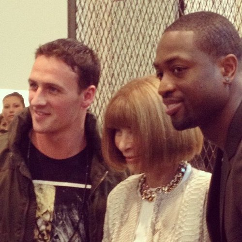 Anna Wintour happily posed with athletes Ryan Lochte and Dwyane Wade for FNO. Source: Instagram user dwyanewade