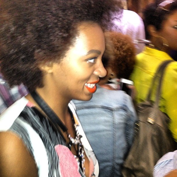 We got a glimpse of the gorgeous Solange Knowles at DVF's soiree, rocking a bold print and baubles.