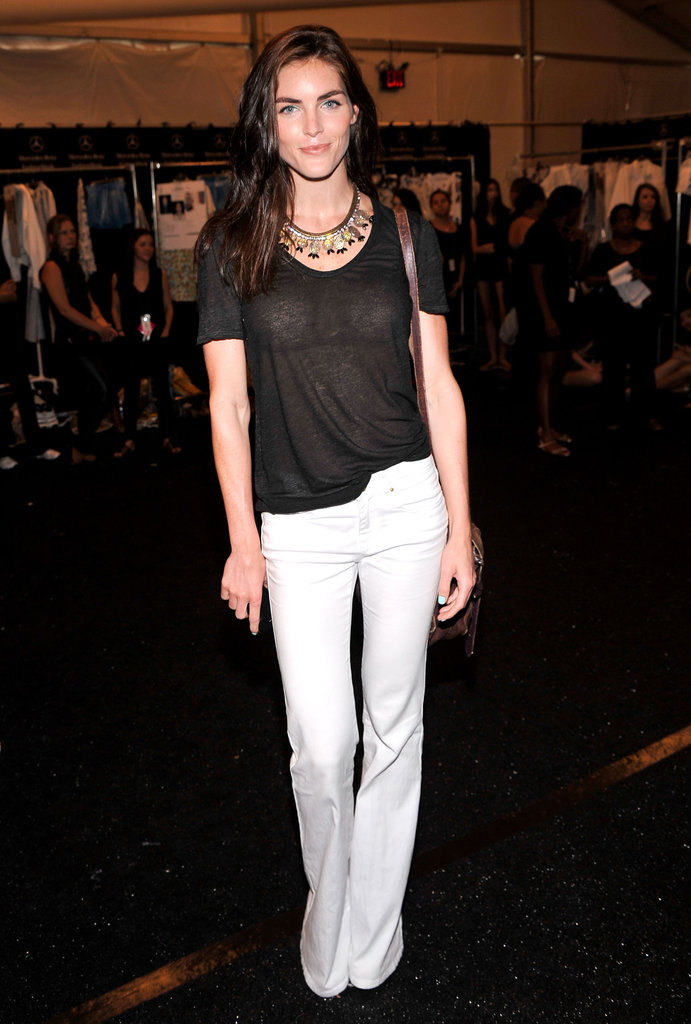 Hilary Rhoda was cool and casual in white denim and a statement necklace backstage before taking Rebecca Minkoff's runway.