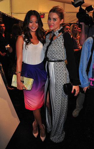 Jamie Chung and Lauren Conrad showed off their respective Rebecca Minkoff looks backstage.