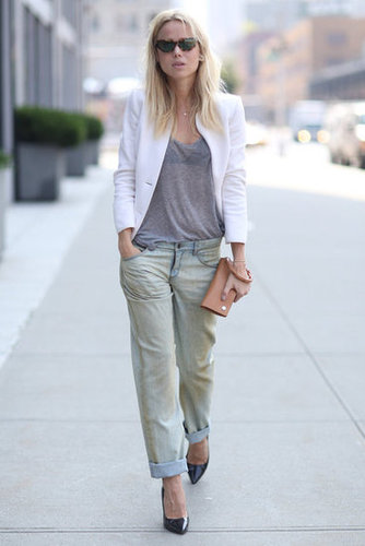 A white blazer took this denim ensemble to a polished place. Source: Greg Kessler