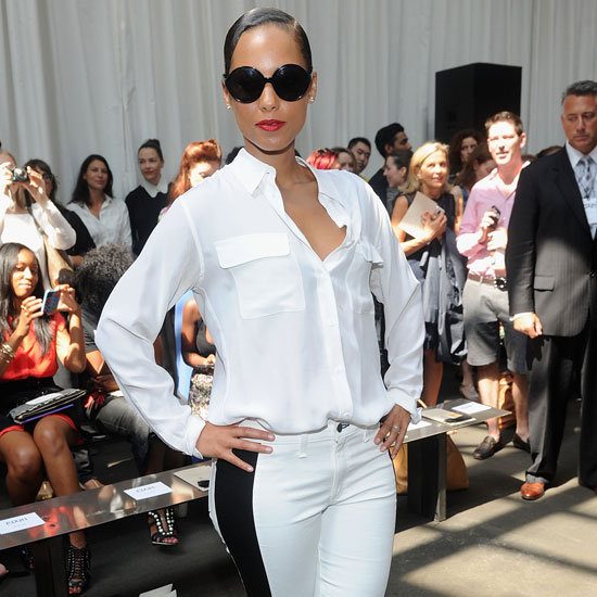 Alicia Keys Wearing White Striped Jeans