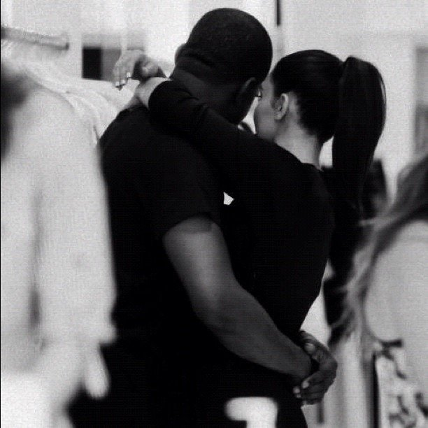 Kim Kardashian and Kanye West shared a sweet hug. Source: Instagram user kimkardashian
