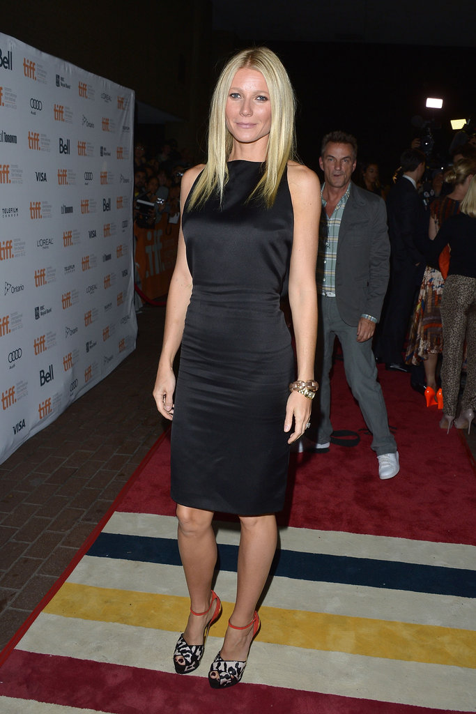 Gwyneth Paltrow attended the premiere of Thanks For Sharing in a Tom Ford LBD and printed Giuseppe Zanotti pumps.