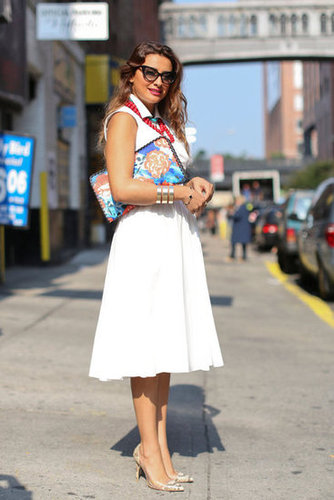 We adore the bright accessories, transforming this LWD look to a statement maker.
