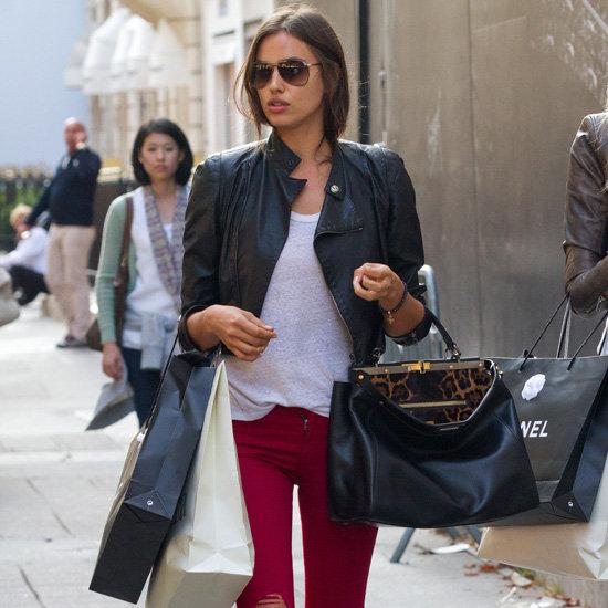 Irina Shayk Wearing Red Ripped Jeans