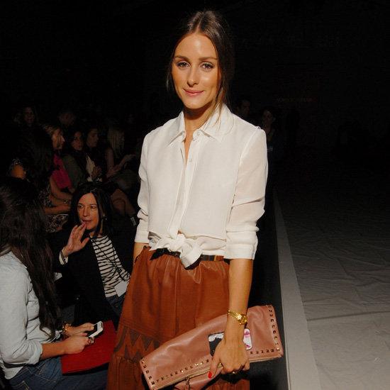 Olivia Palermo Wearing Brown Skirt at New York Fashion Week