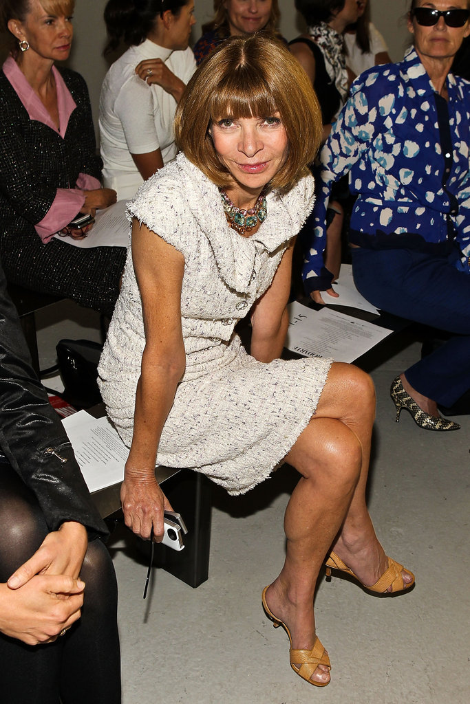 Anna Wintour sat on the edge of her seat at the Rodarte fashion show.