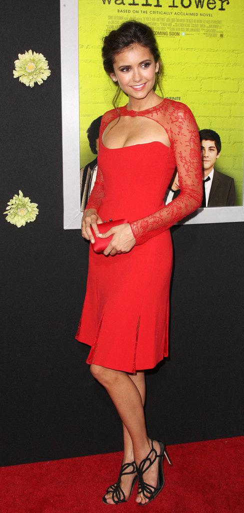 Nina Dobrev wore a sexy red Reem Acra dress for the LA premiere of The Perks of Being a Wallflower.