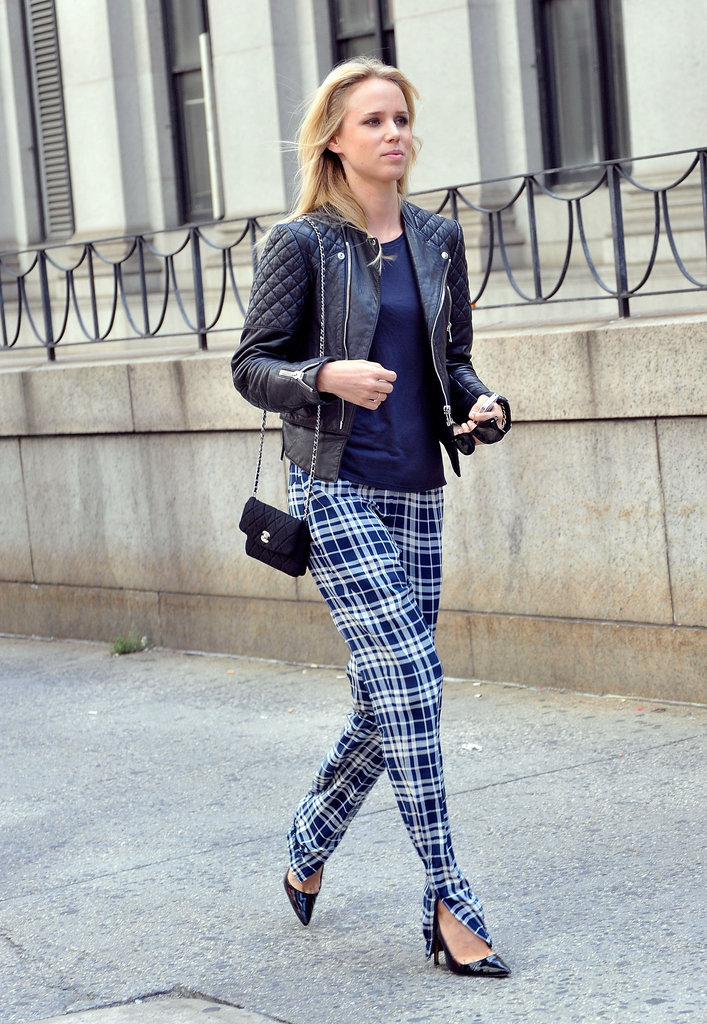 Plaid pants are given the prep-school-meets-punk treatment with a chain-strap bag and a quilted leather jacket.