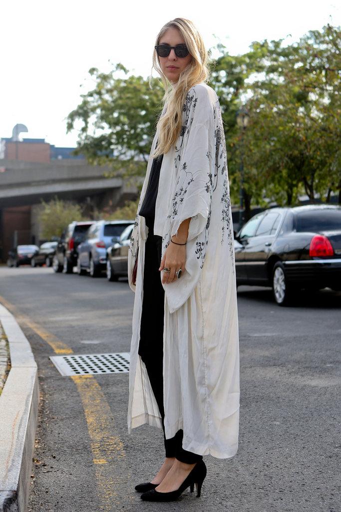 Easy-glam, courtesy of a full-length kimono.